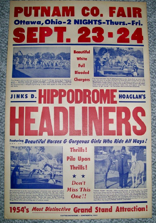 1954 Hoaglan's Hippodrome Headliners Horse Riding Show Poster