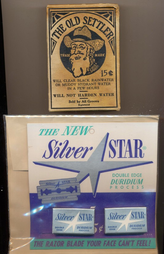 1959 Silver Star Razor Blade Store Display + Old Settler Water