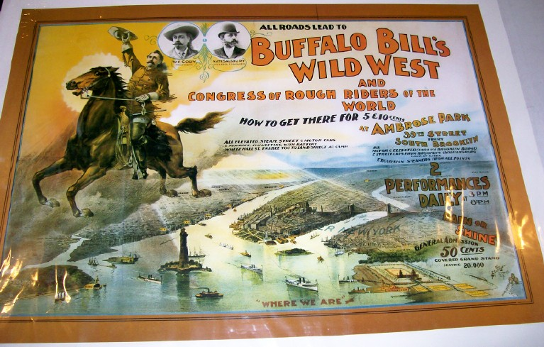 Buffalo Bill Wild West Poster Advertising Ambrose Park Appearanc