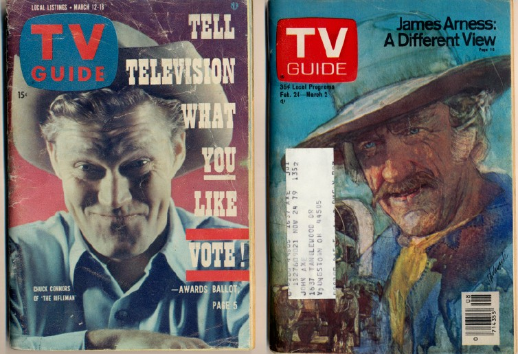 1960-1979 TV Guide Lot With TV Western Series Covers