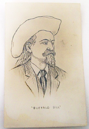 Artist Sketch On A Postcard - Portrait Of Buffalo Bill