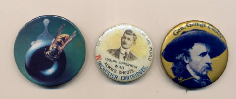 3 Pinbacks - Custer, Winchester's Topperwein, Remington 218B