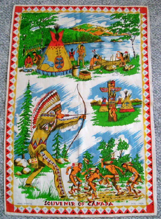 1940s Linen Wall Hanging - Canada Souvenir With Indian Scenes