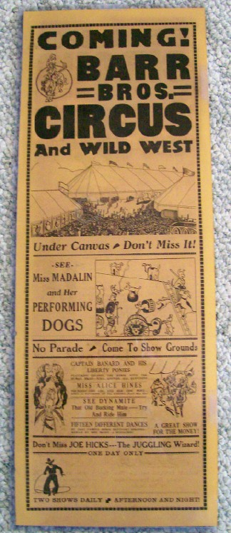 1910s Barr Bros Circus & Wild West Poster