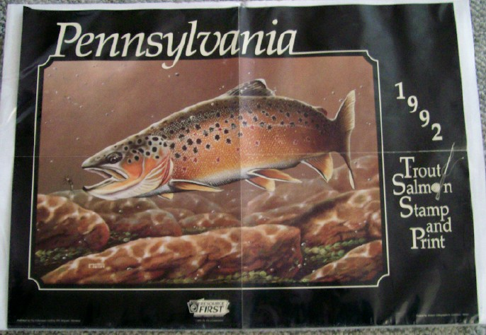 1992 PA Trout/Salmon Stamp Release Advertising Poster