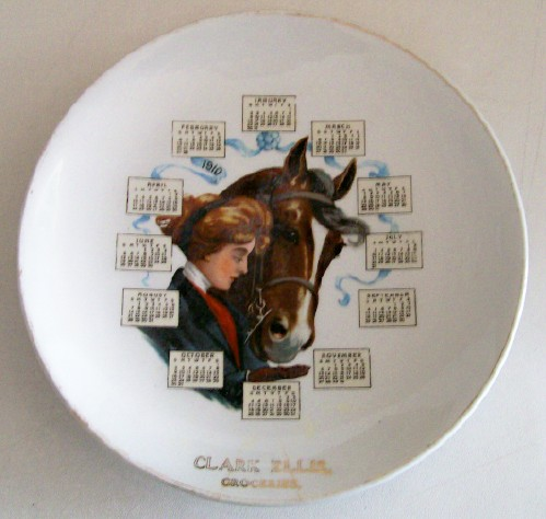 1910 Advertising Calendar Plate With Cowgirl & Horse