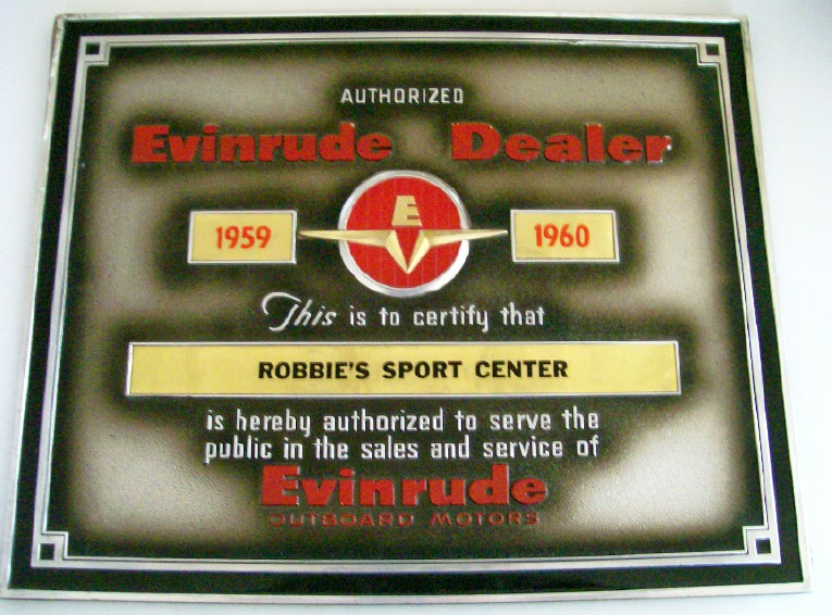 1959-60 Evinrude Outboard Motor Authorized Dealer Plaque