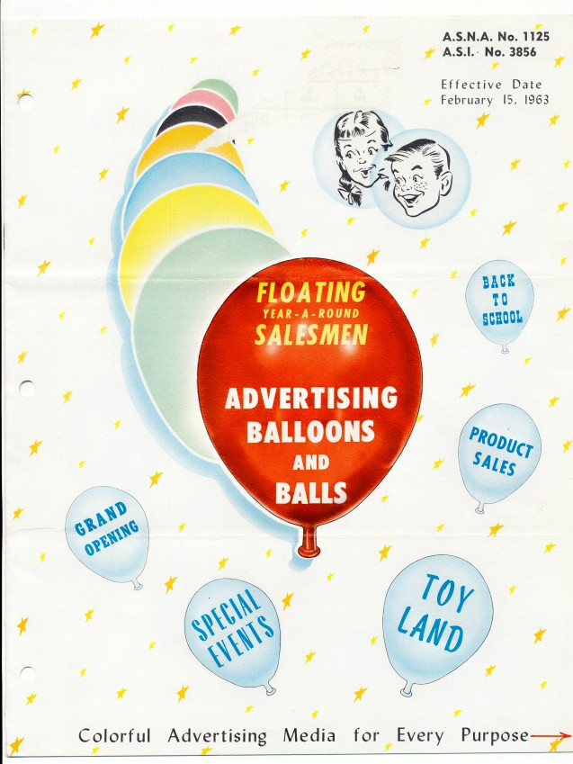 1963 Bartex Advertising Balloon Trade Catalog