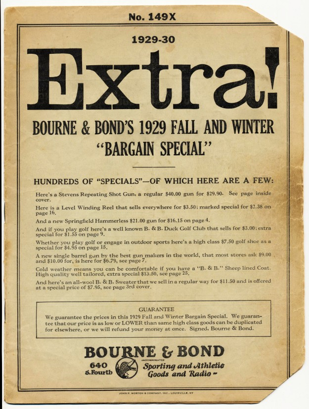 1929 Bourne & Bond's Gun & Sporting Goods Catalog