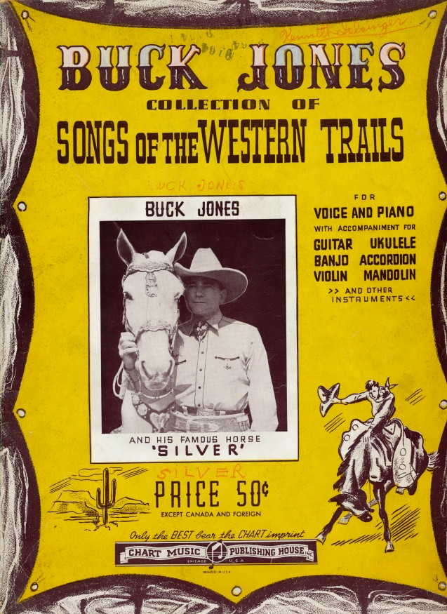 1940 Buck Jones Guitar Song Book - B Western Movie Cowboy