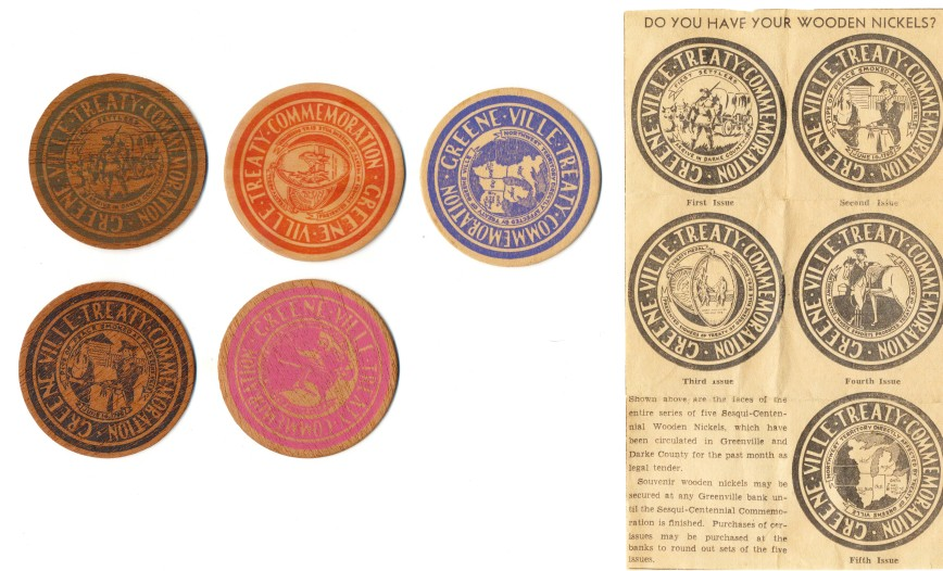 1945 Annie Oakley's Hometown Commemorative Wooden Nickel Set