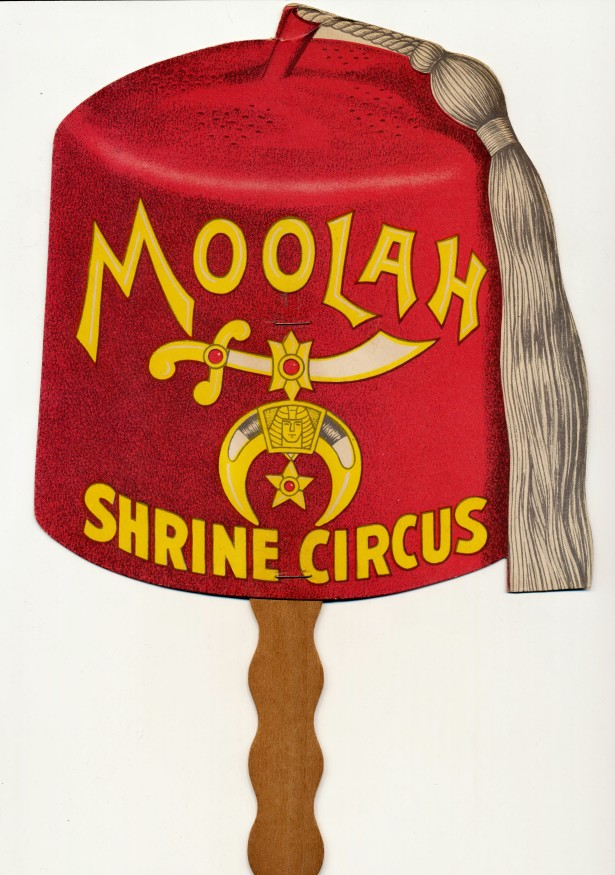 Wabash Railroad & St Louis Moolah Shrine Circus Advertising Fan