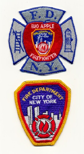 Pre 9/11 New York City Fire Dept Patches W/World Trade Center