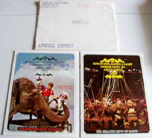1969 Ringling Bros Barnum & Bailey Annual Report & Supplement ++