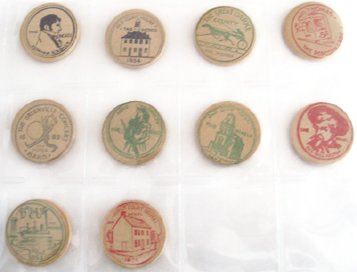 1958 Set Of 10 Wooden Nickels From Annie Oakley's Hometown