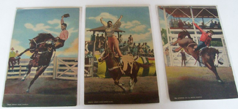 3 Giant Rodeo Postcards