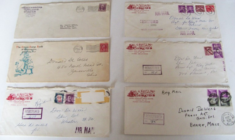 Lot Of 6 Vintage Circus Illustrated Letterhead Envelopes