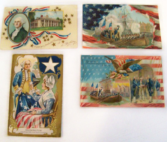4 Washington's Birthday Embossed Postcards From 1909
