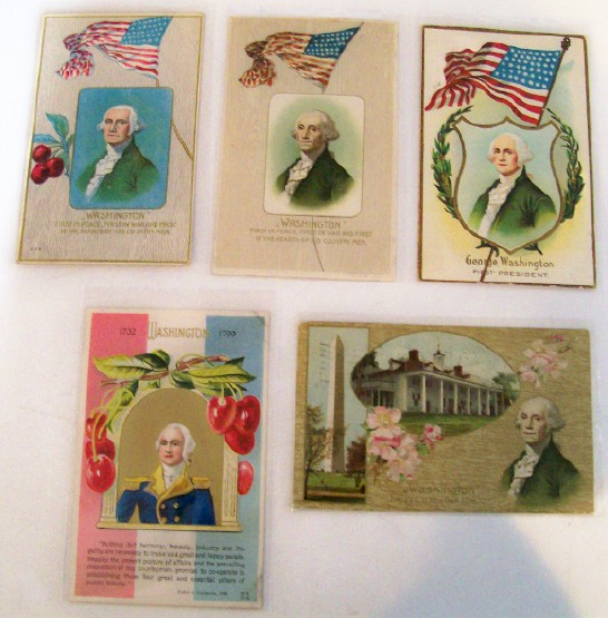 5 George Washington's Birthday Embossed Postcards From 1909