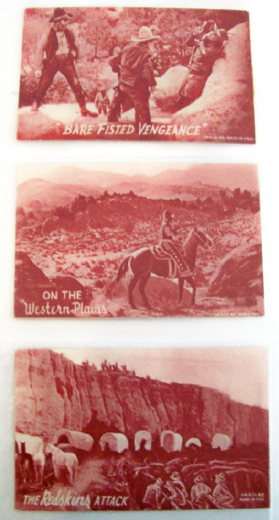 3 Red Tinted Western Postcards