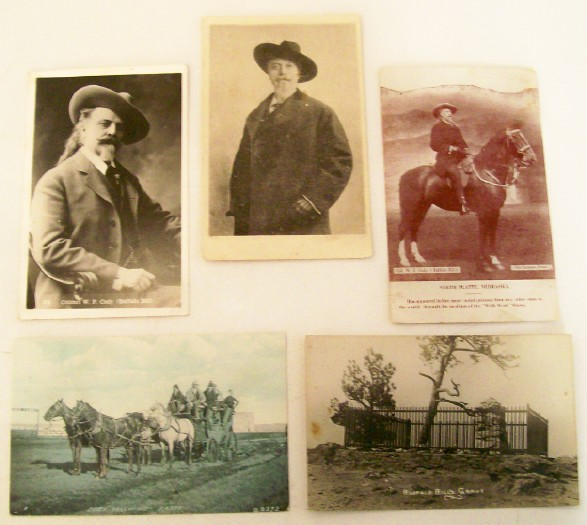 5 Buffalo Bill Early Real Photo Postcards