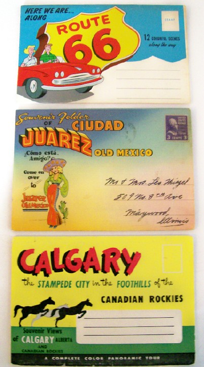 3 Postcard Folders From The 1950s Including Route 66