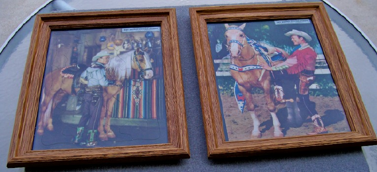 1948 & 1953 Vintage Roy Rogers & Trigger Framed Jigsaw Puzzles