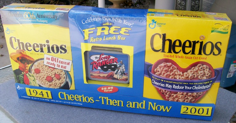 1941-2001 Cheerios Lone Ranger Set - Cereal - Lunchbox - Mask