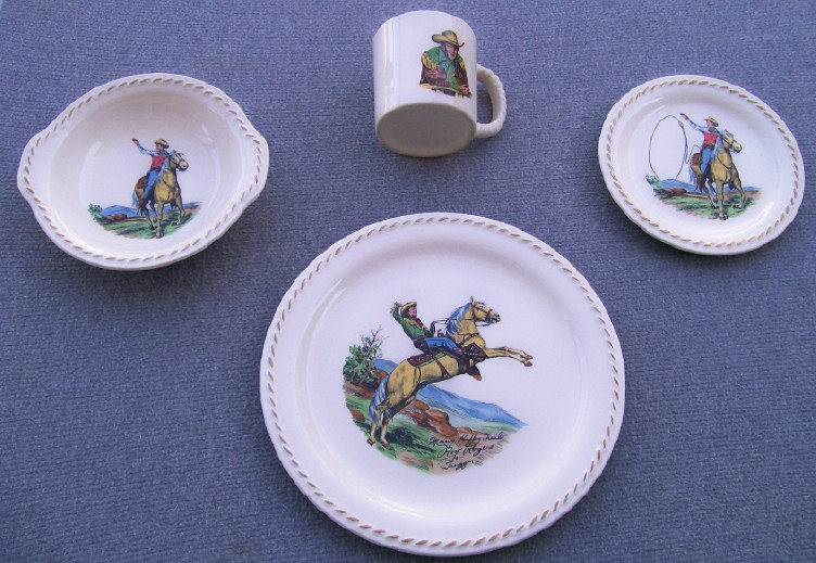 1950s Roy Rogers & Trigger 4-Piece China Dinnerware Set