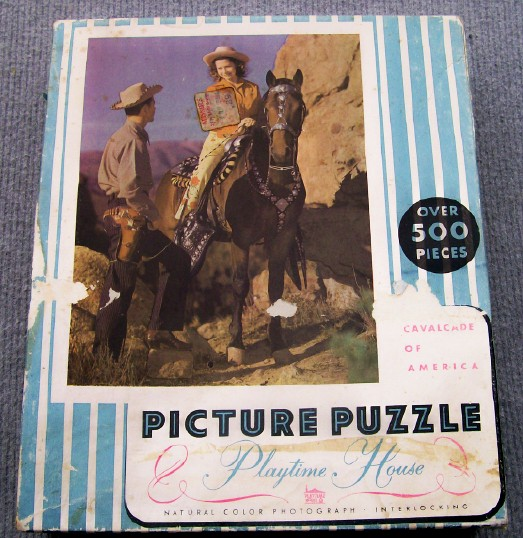 1940s-1950s Cowgirl On Horse W/Silver Show Saddle Boxed Puzzle
