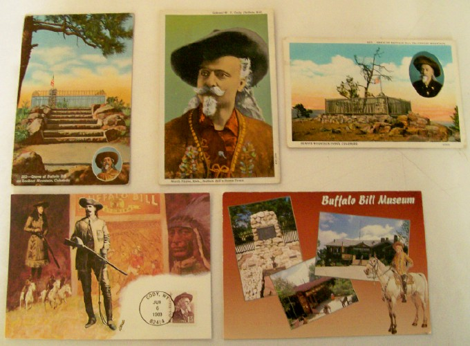 5 Buffalo Bill Postcards From Buffalo Bill Museum