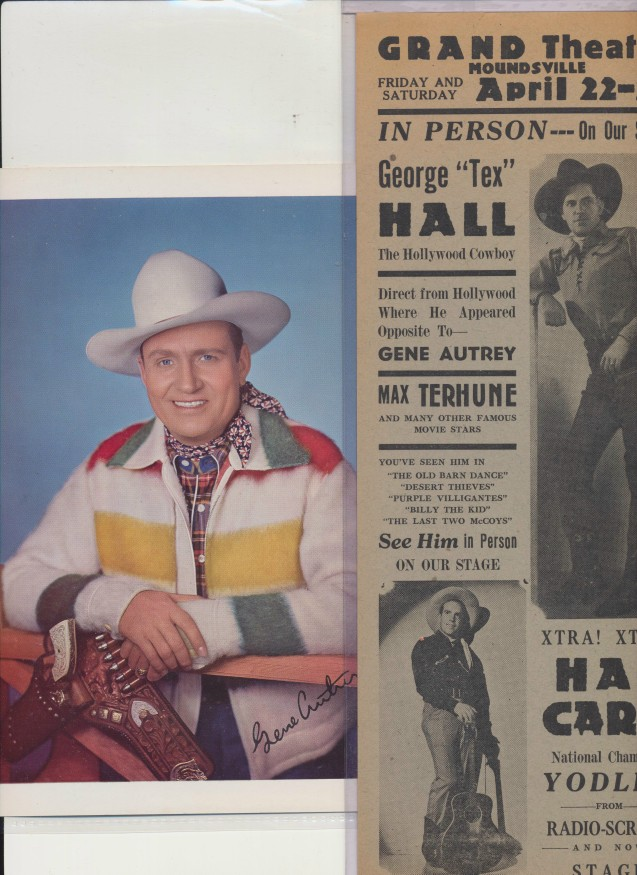 Gene Autry Picture & Advertising Flyer With Misspelled Name