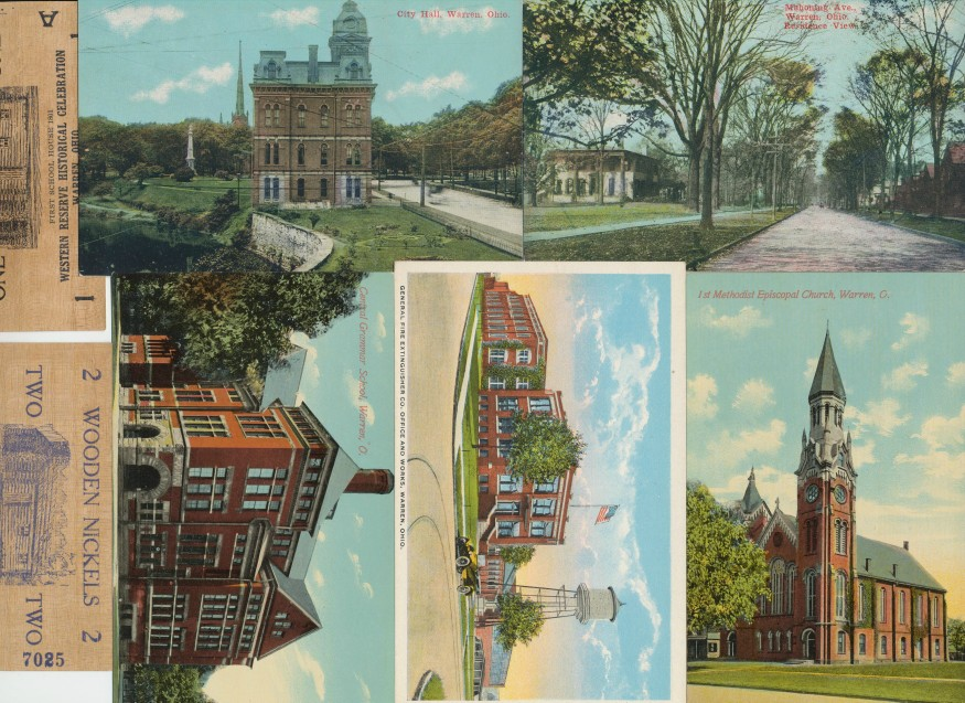 Lot Of 9 Warren Ohio Postcards + 2 1938 Wooden Nickels