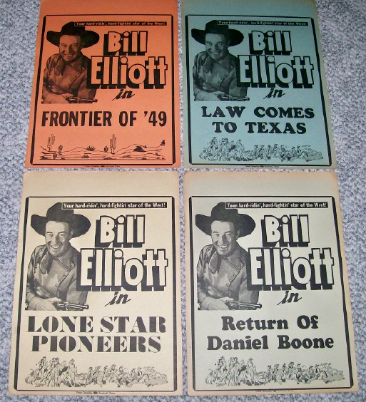 4 Vintage Wild Bill Elliott B Western Movie Cowboy Broadsides