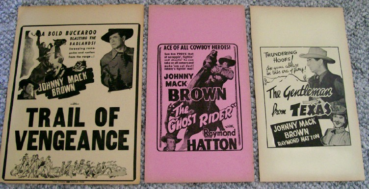 3 Johnny Mack Brown B Western Movie Cowboy Broadsides