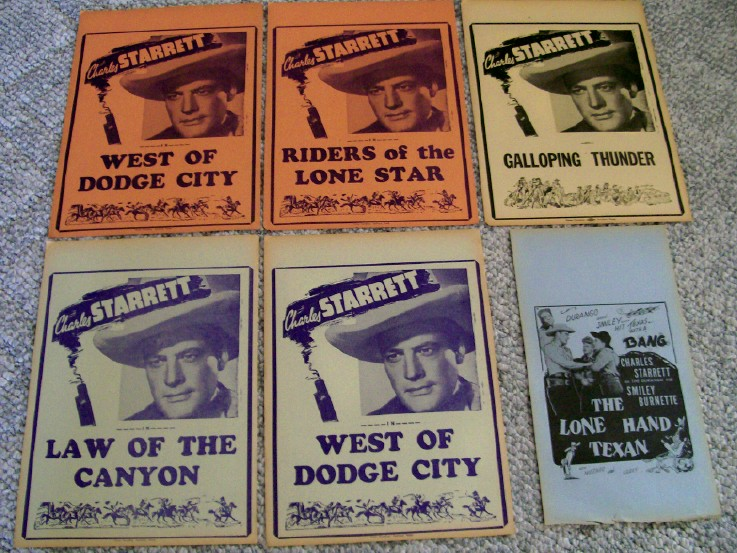 6 Charles Starrett B Western Movie Cowboy Broadsides