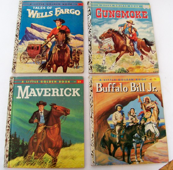 4 Western Little Golden Books Not Easily Found