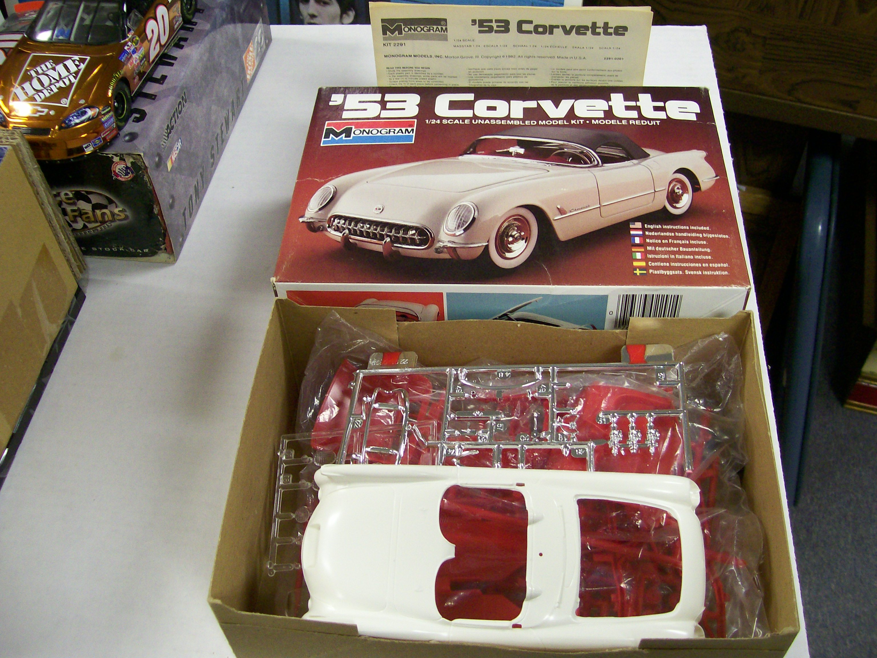 1953 Corvette 1/24 Scale Plastic Model Kit by Monogram 1982