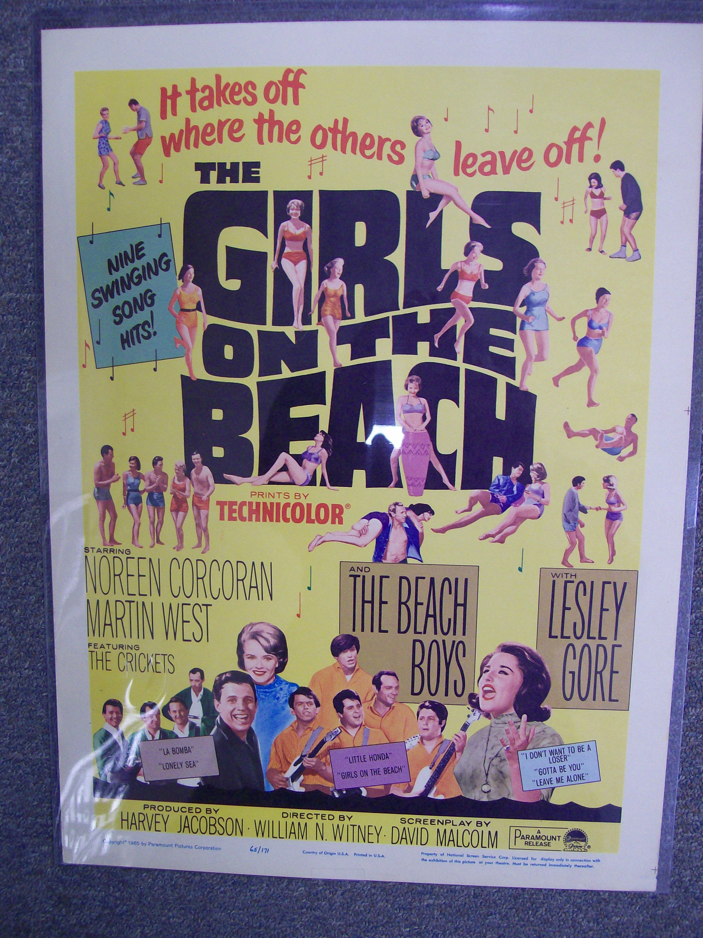 Girls On The Beach Poster Beach Boys/Crickets/Leslie Gore 1965