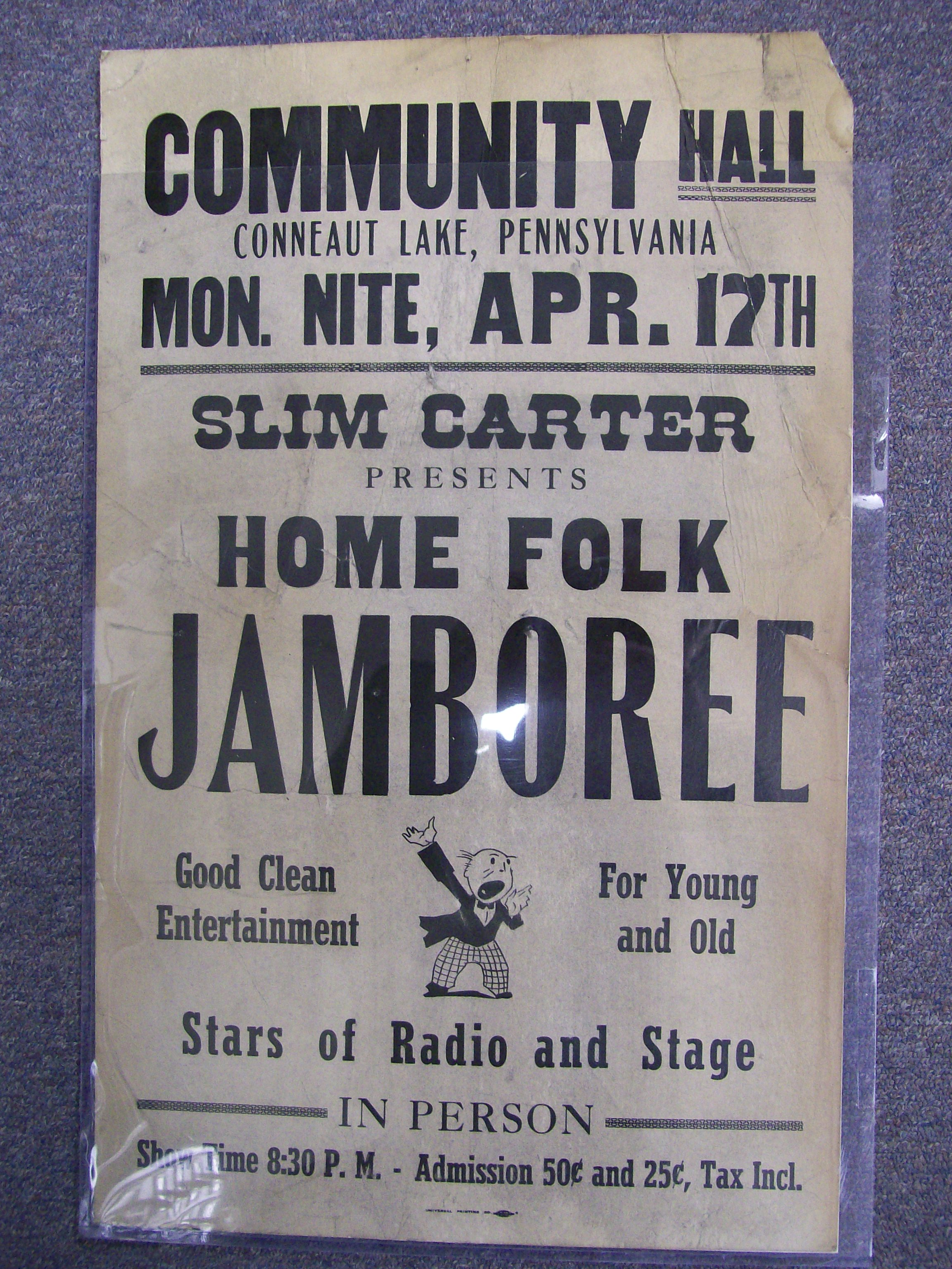 Slim Carter Home Folk Jamboree Poster Conneaut Lake, Pa.