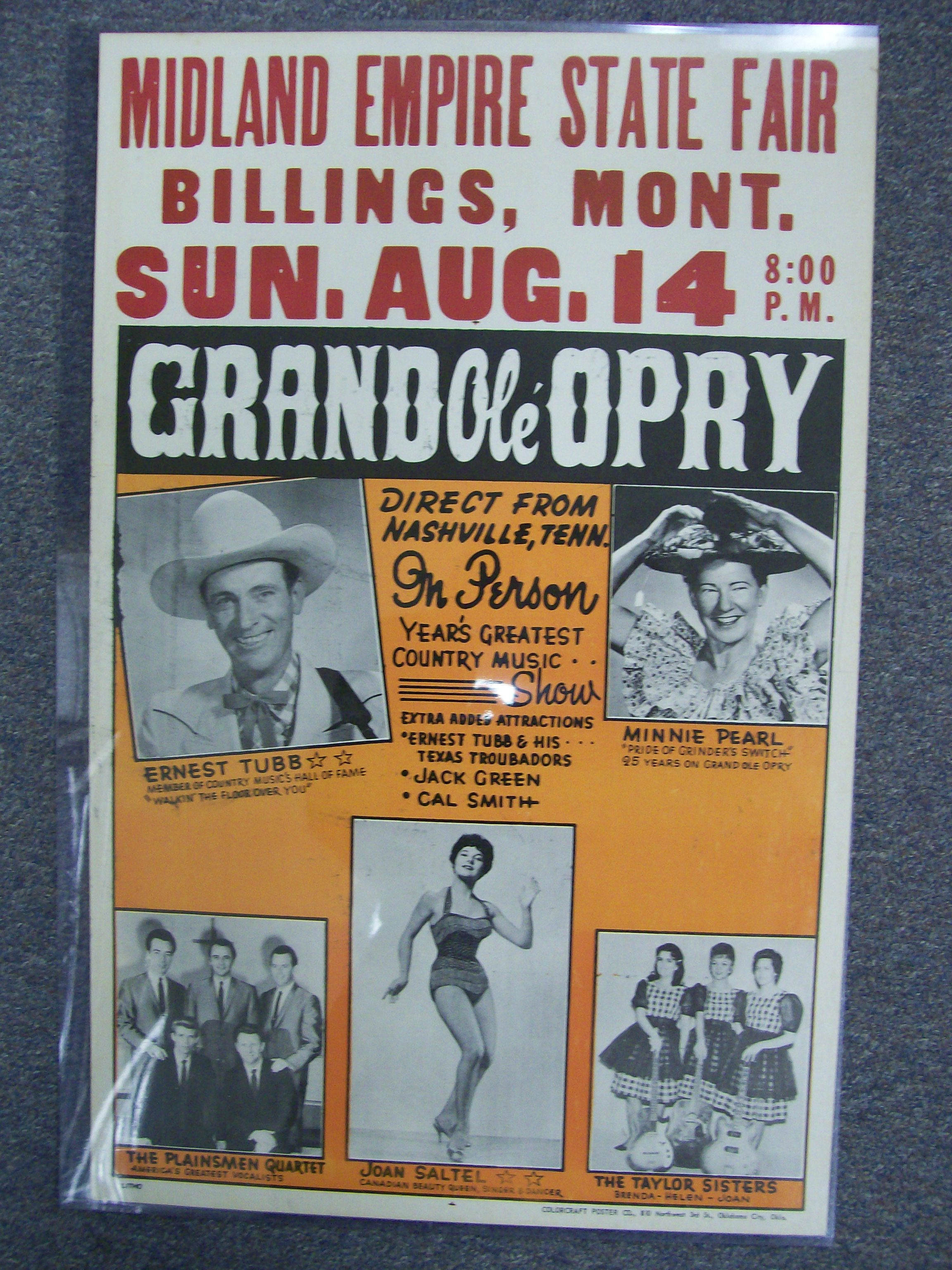 Ernest Tubb/Minnie Pearl Appearance poster- Grand Ole'Opry