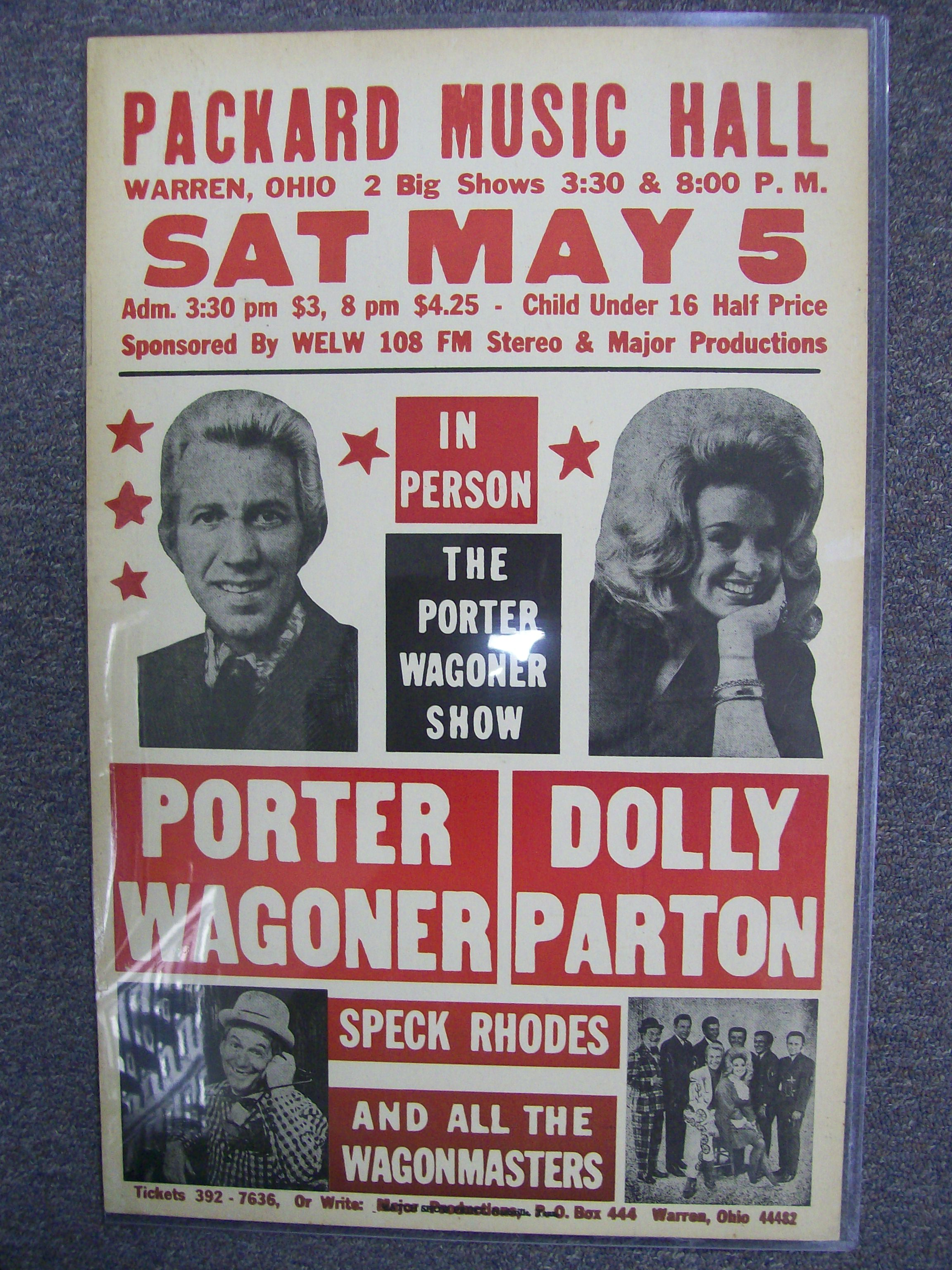Porter Wagoner/Dolly Parton in person Poster/ Packard Music Hall