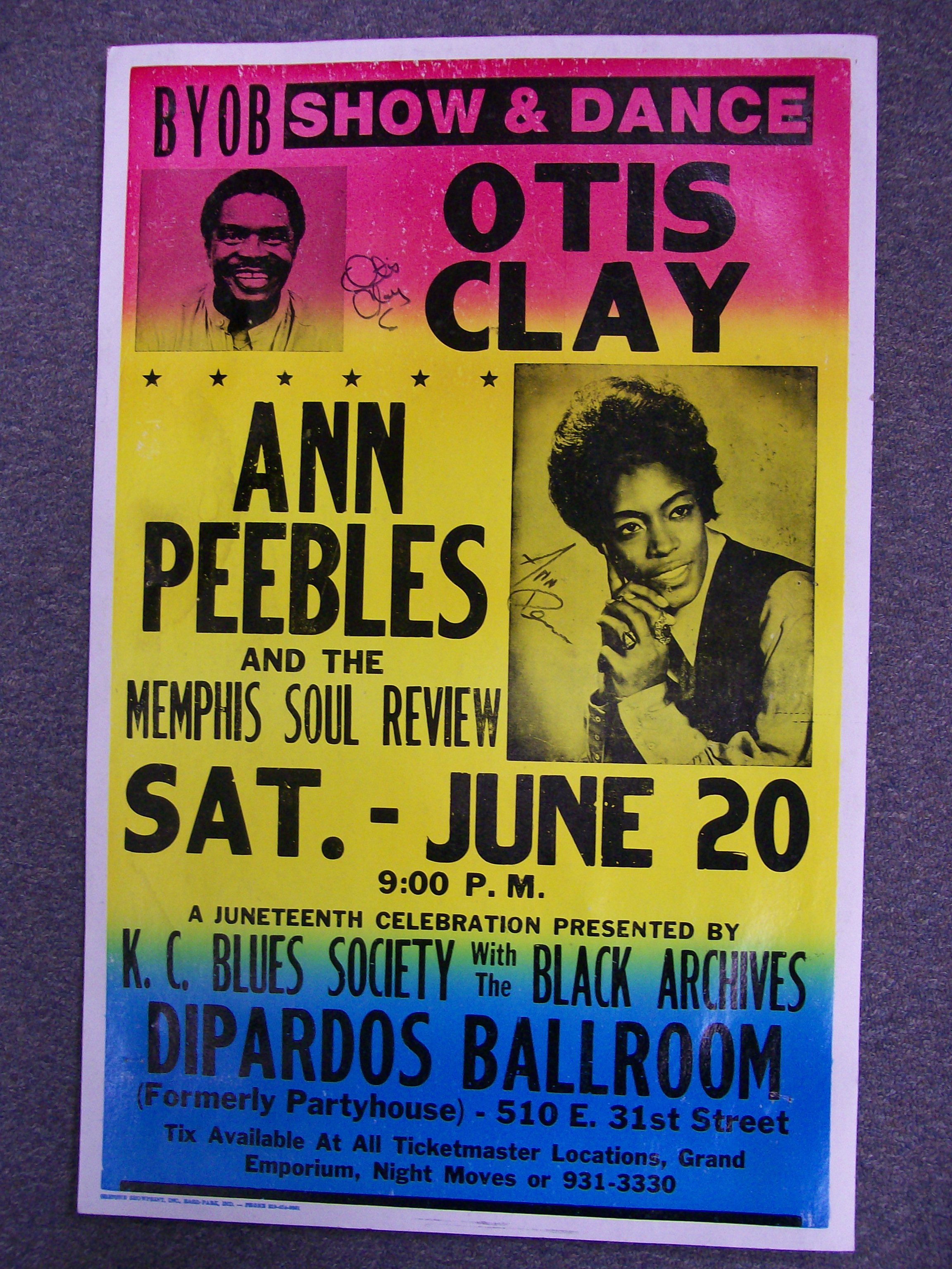 Otis Clay/Ann Peebles Dance Boxer Poster Autographed by Both