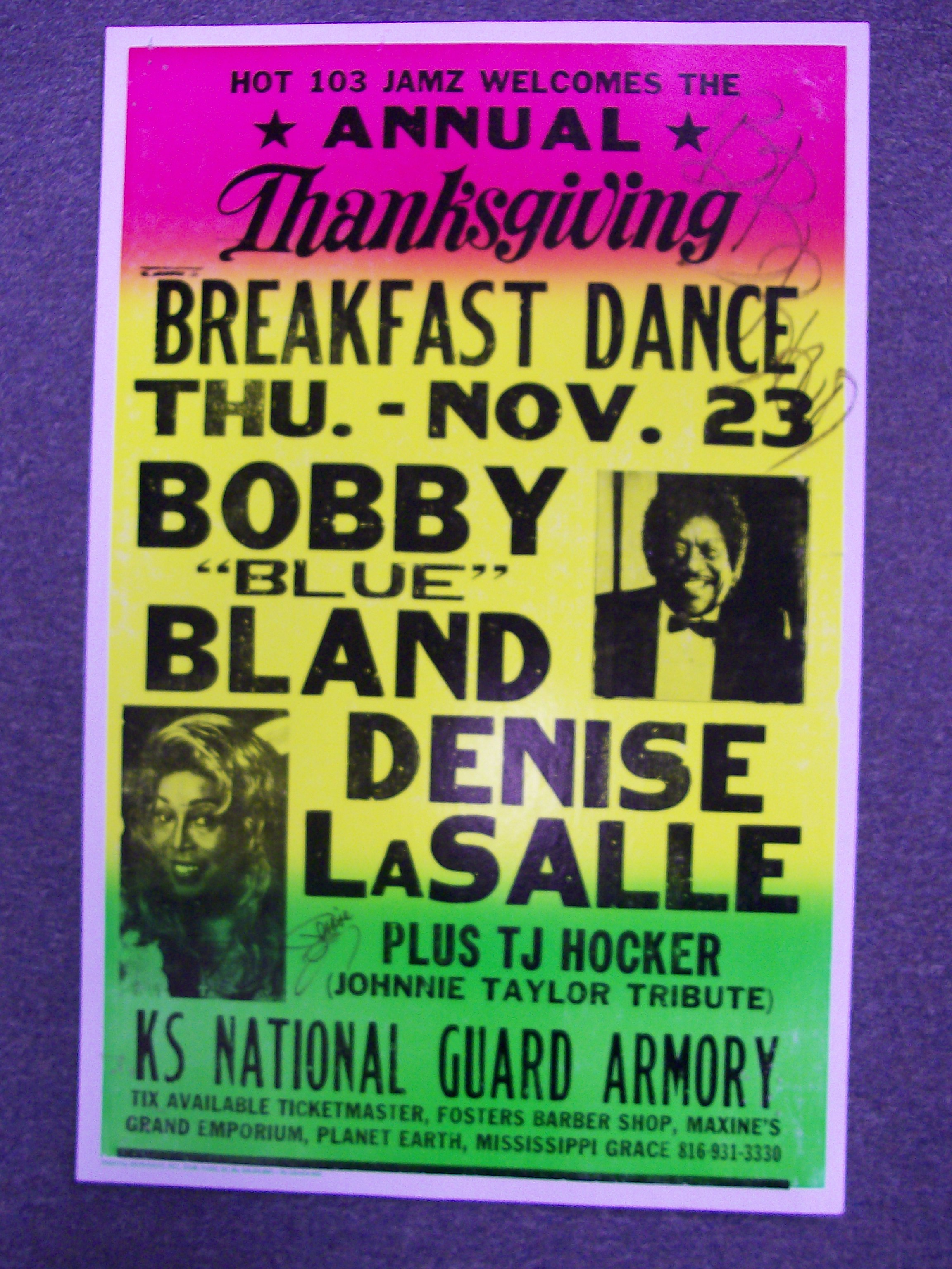 "Bobby""Blue""Bland/Denise LaSalle Autographed Boxer Poster"