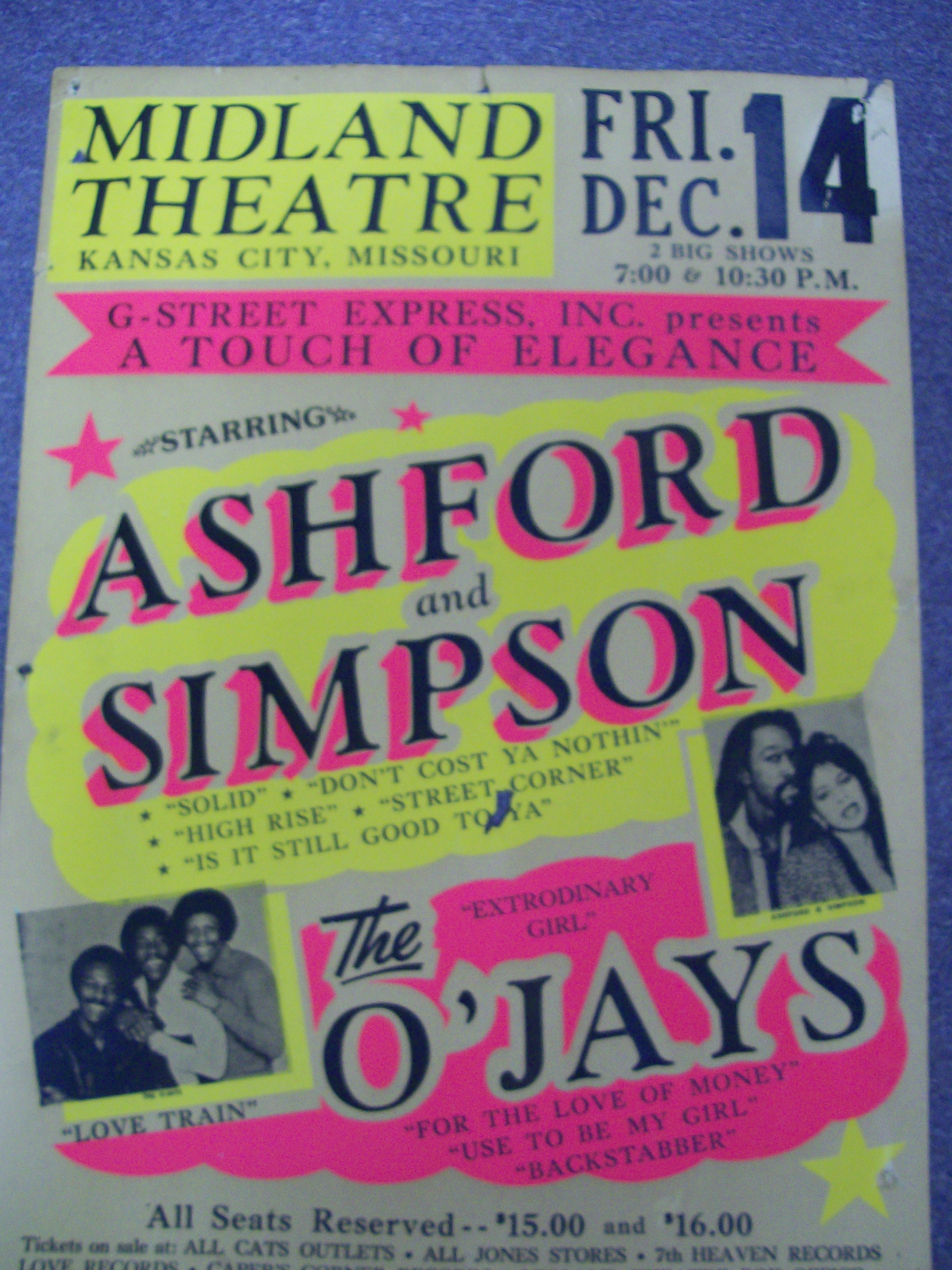 Very Rare appearance poster featuring Ashford and Simpson & O'Ja