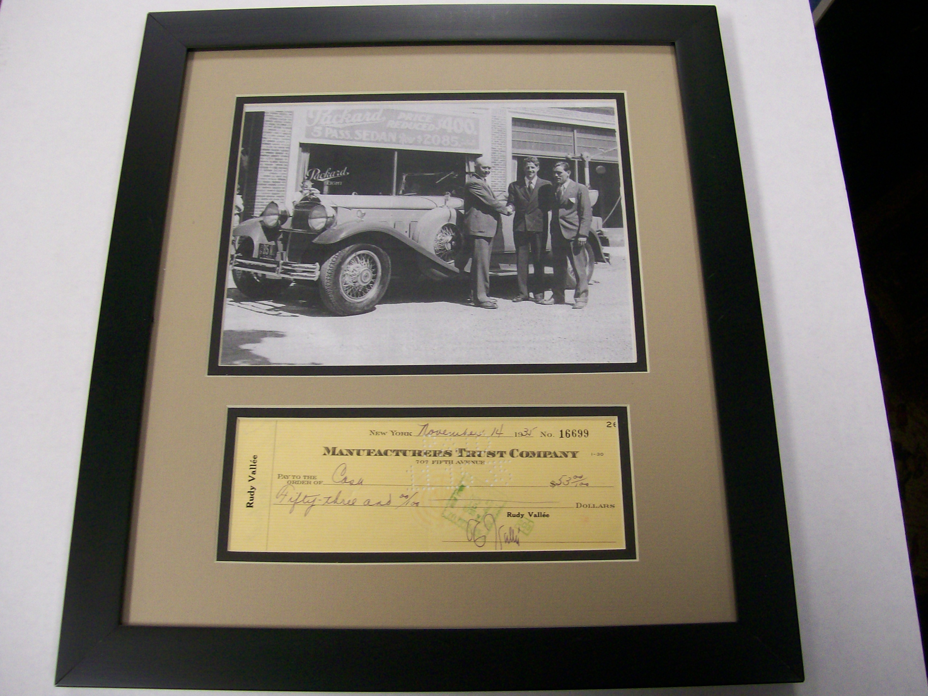 Picture & Signed Check Rudy Vallee Buying Packard Car