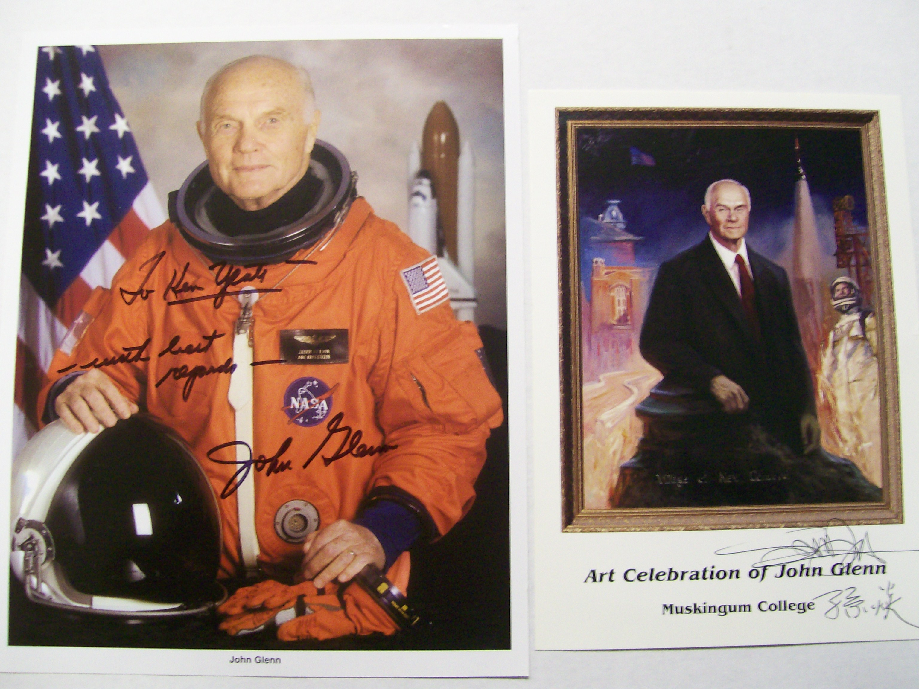 2 Signed Photos of John Glenn NASA & Art Celebration