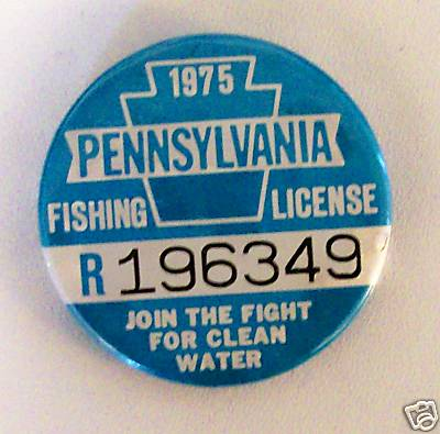 Original Vintage 1975 PA Fishing License