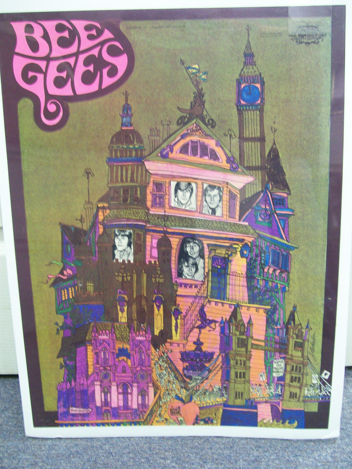 BEEGEES SPARTA POSTER #3 DAVID SHILLER 1968 CAL.