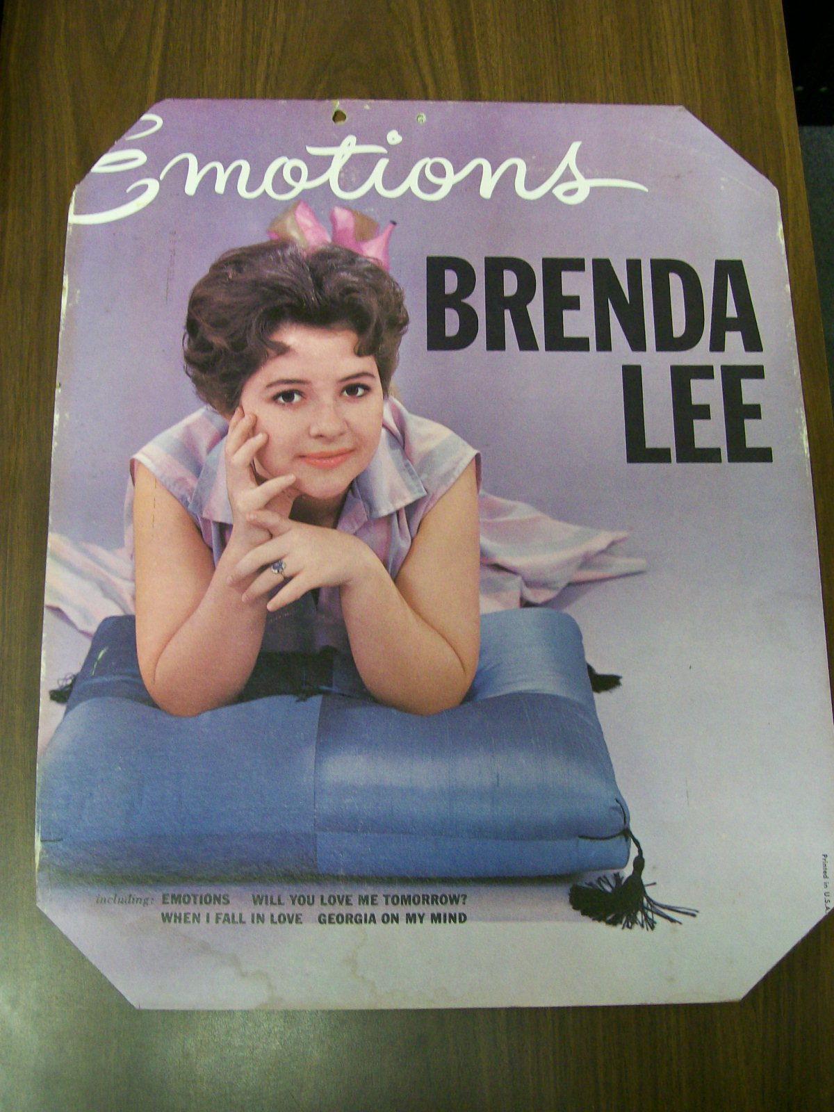 EMOTIONS BRENDA LEE POSTER 1960 PRINTED IN U.S.A.